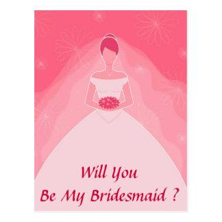 Pretty Girly Pink Simple Bridesmaid Postcard