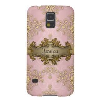 Pretty Girly Pink Yellow Gold Damask Galaxy S5 Cover