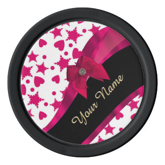 Pretty girly red and white patterned monogram poker chips