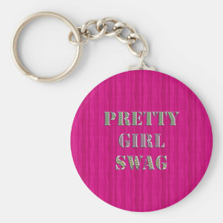 Pretty Girly Swag in Pink and wavy glitter zigzag Basic Round Button Key Ring