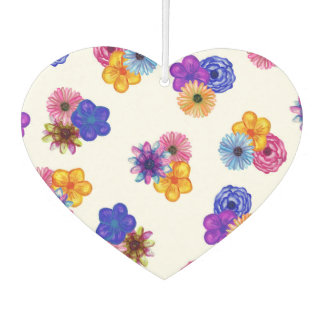 Pretty Girly Watercolor Flowers on White Car Air Freshener