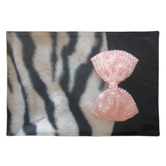 Pretty Girly Zebra Print & Pink Diamante Bling Bow Placemat