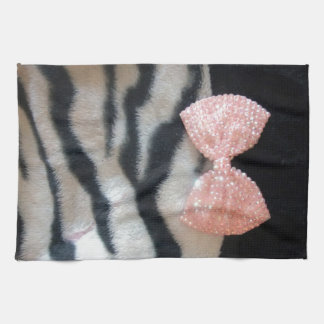 Pretty Girly Zebra Print & Pink Diamante Bling Bow Tea Towel