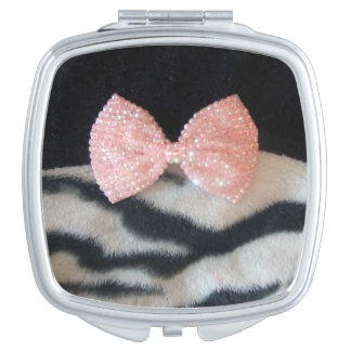 Pretty Girly Zebra Print & Pink Diamante Bling Bow Vanity Mirror