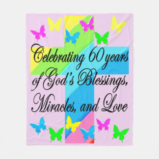 PRETTY GOD LOVING 60TH BIRTHDAY FLEECE BLANKET