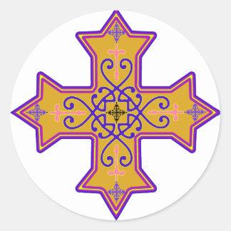 Pretty Gold and Pink Coptic Cross Round Sticker