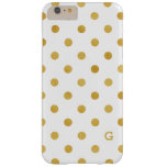 Pretty gold and white polka dots patterns monogram barely there iPhone 6 plus case
