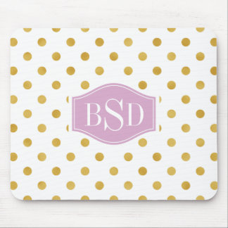 Pretty gold and white polka dots patterns monogram mouse pad
