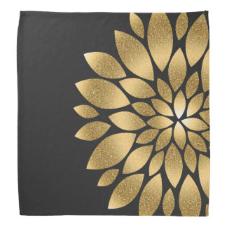 Pretty gold faux glitter abstract flower bandana