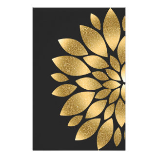 Pretty gold faux glitter abstract flower stationery