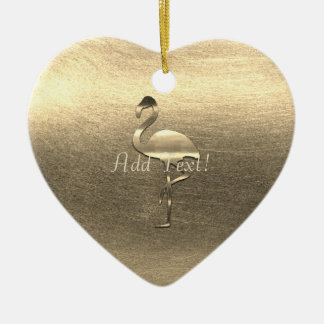 Pretty Gold Flamingo  Add Text Ornament