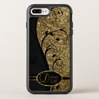 Pretty Gold Glitter and Black Floral - DIY Name OtterBox Symmetry iPhone 8 Plus/7 Plus Case