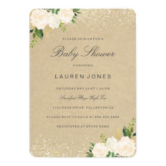 Pretty Gold Pink Rustic Floral Baby Shower Invite