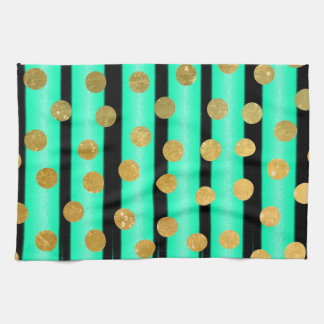 Pretty Gold Polka Dot Turquoise and Black Stripe Tea Towel