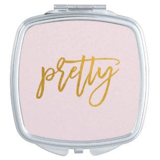 Pretty | Golden Handwritten | Pink Blush Mirror Makeup Mirrors