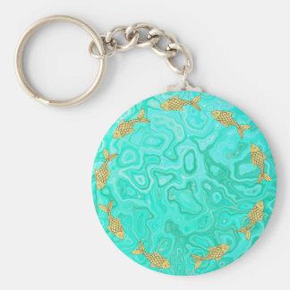 Pretty Goldfish on Aqua Splash Watery Background Key Ring