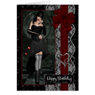 Pretty Gothic Girl with Bows Ribbon And Lace Card
