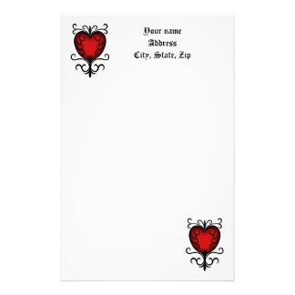 Pretty gothic red heart customised stationery