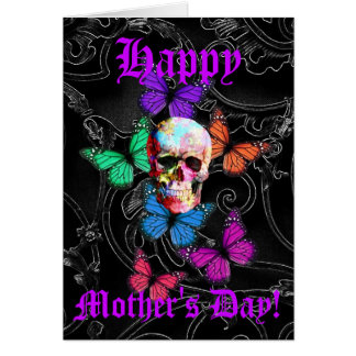 Pretty  gothic skull mothers day note card