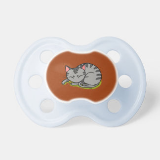 Pretty gray cat sleeping pacifiers