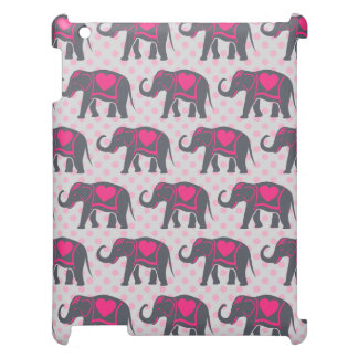 Pretty Gray Hot Pink Elephants on pink polka dots Cover For The iPad 2 3 4