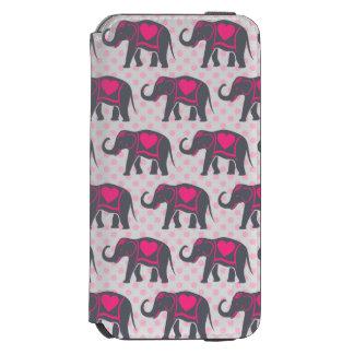 Pretty Gray Hot Pink Elephants on pink polka dots Incipio Watson™ iPhone 6 Wallet Case