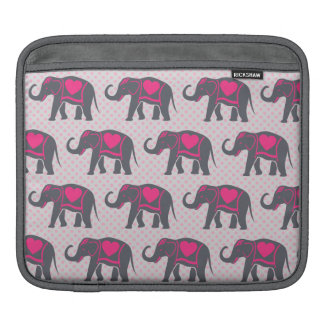 Pretty Gray Hot Pink Elephants on pink polka dots iPad Sleeve