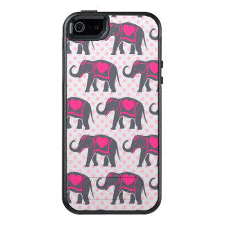 Pretty Gray Hot Pink Elephants on pink polka dots OtterBox iPhone 5/5s/SE Case