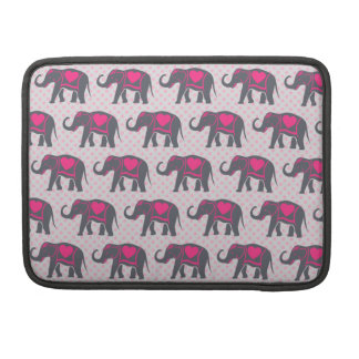 Pretty Gray Hot Pink Elephants on pink polka dots Sleeves For MacBook Pro