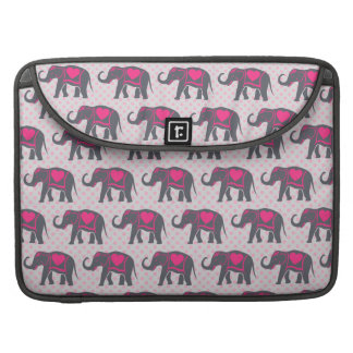 Pretty Gray Hot Pink Elephants on pink polka dots Sleeves For MacBooks