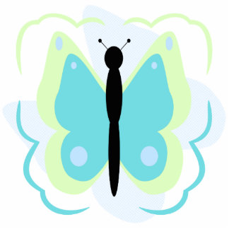 Pretty Green And Cyan Butterfly Ornament Photo Sculpture Decoration