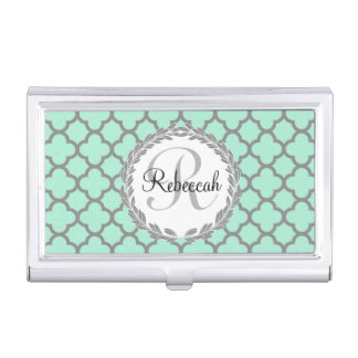 Pretty Green and Gray Quatrefoil Monogram Laurel Business Card Holder