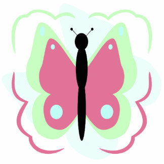 Pretty Green And Pink Butterfly Ornament Photo Cut Outs