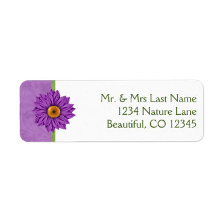 Pretty Green and Purple Flower Address Labels
