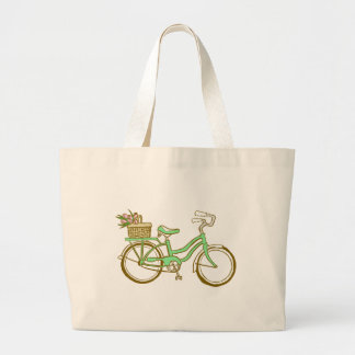 Pretty Green Bicycle with Tulips Canvas Bags