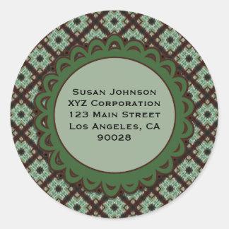 Pretty Green Brown Crisscross pattern Round Sticker