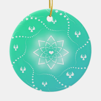 Pretty Green Christmas Ornament with Tiny Angels