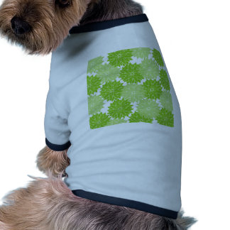 Pretty green Flower Blossoms Floral Pattern Doggie Tee Shirt