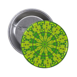 Pretty Green Kaleidoscope Feminine Mandala Flower 6 Cm Round Badge