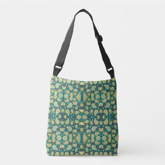 Pretty green kaleidoscope print on cross body bag
