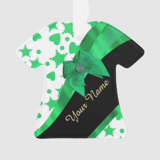 Pretty green modern spotted pattern ornament