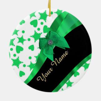 Pretty green modern spotted pattern round ceramic decoration