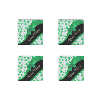 Pretty green modern spotted pattern stone magnet