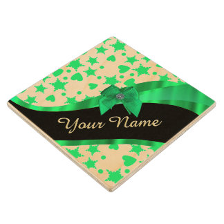 Pretty green modern spotted pattern wood coaster