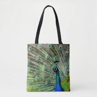 Pretty  green peacock  tote bag