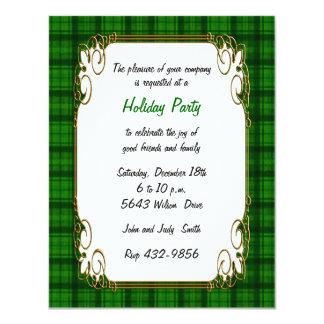 Pretty Green Plaid Holiday Invitation