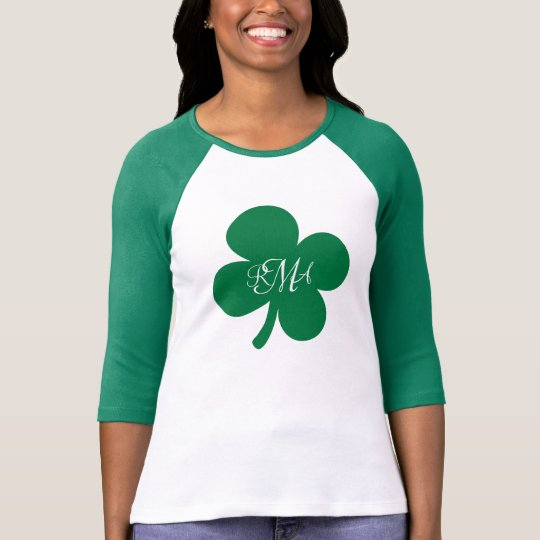 Pretty Green Shamrock Monogrammed Personalised T-Shirt