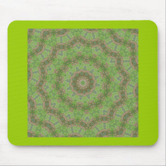 Pretty green spiral fractal design mouse pad