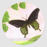 Pretty Green Vintage Butterfly Classic Round Sticker