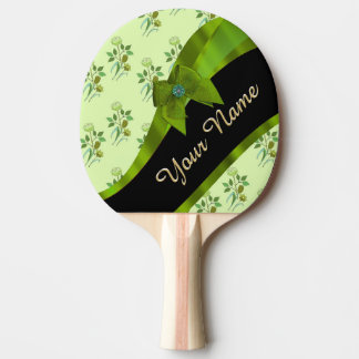 Pretty green vintage floral flower pattern ping pong paddle